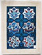 FRAMED SET OF TURKISH IZNIK POTTERY TILES, Ottoman