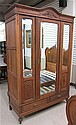 LOUIS XV STYLE THREE-DOOR OAK WARDROBE, French, c.