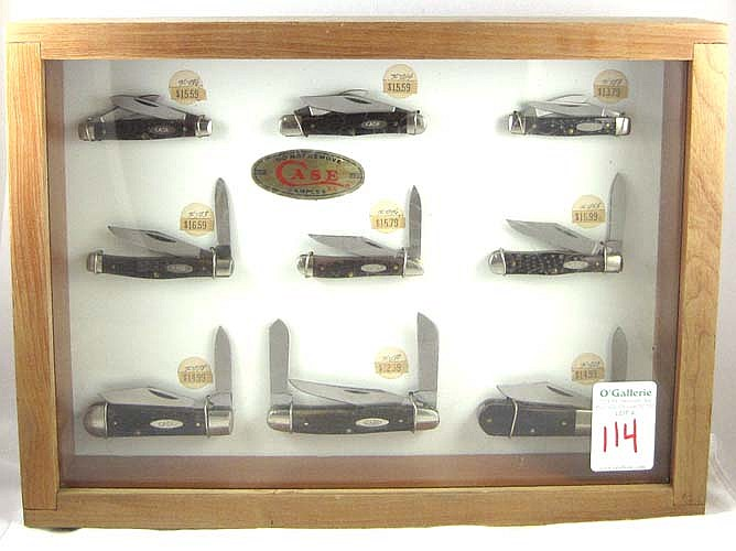 STORE DISPLAY OF NINE CASE XX KNIVES including
