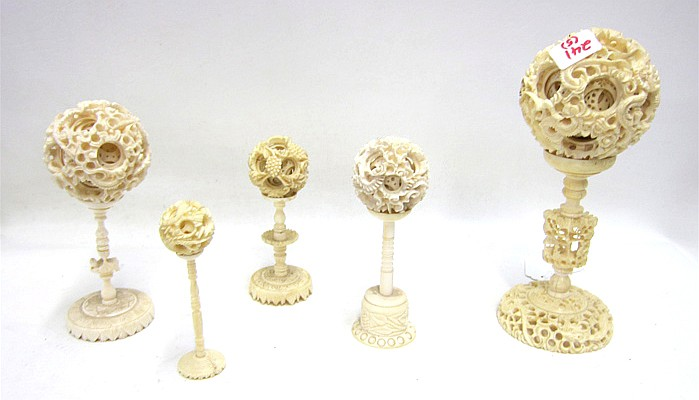 FIVE CHINESE IVORY BALLS OF MYSTERY, having