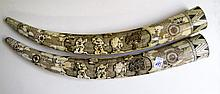 PAIR OF CHINESE CARVED BONE TUSKS, scrimshawed and