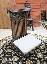AN OAK GOTHIC REVIVAL PRIE DIEU (kneeling bench),