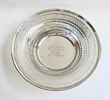 STERLING SILVER BOWL with pierced rim, by Smith