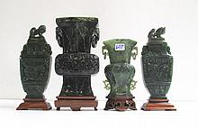 CHINESE CARVED HARDSTONE URNS AND VASES, four