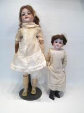 TWO ARMAND MARSEILLE BISQUE HEAD DOLLS,