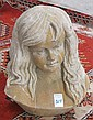 ITALIAN SCHOOL ROSSA MARBLE BUST, a young woman