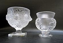 TWO LALIQUE CRYSTAL FOOTED VASES