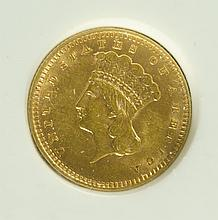 U.S. ONE DOLLAR GOLD COIN, Indian head type 3,