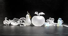 SEVEN LALIQUE CRYSTAL FIGURES AND PERFUME