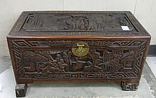 CARVED CAMPHOR WOOD BLANKET CHEST, Chinese export,