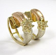 PAIR OF DIAMOND AND FOURTEEN KARAT GOLD EARRINGS,