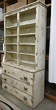 PAINTED PINE HUTCH ON CHEST, American, late 19th c