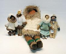 FIVE HANDMADE ESKIMO DOLLS made from leather, nati