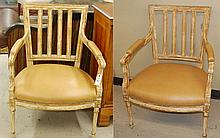 A PAIR OF LOUIS XVI STYLE ARMCHAIRS, with matching