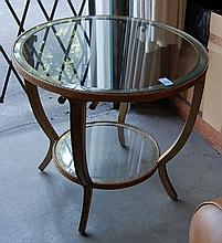 CONTEMPORARY GLASS AND GILDED METAL LAMP TABLE,