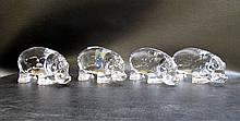 SET OF BACCARAT CRYSTAL HIPPOPOTAMUS FIGURINES
