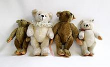FOUR STEIFF MOHAIR BEARS, each with metal ear tag,