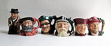 SIX ROYAL DOULTON LARGE TOBY & CHARACTER JUGS:
