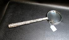 .900 FINE SILVER LONG HANDLED MAGNIFYING GLASS