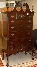 CHIPPENDALE STYLE MAHOGANY HIGHBOY CHEST OF