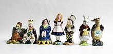 SEVEN BESWICK ALICE IN WONDERLAND FIGURINES