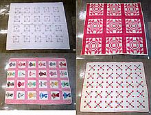 FOUR COLLECTIBLE BED QUILTS: an embroidered quilt