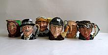 SIX ROYAL DOULTON LARGE TOBY & CHARACTER JUGS