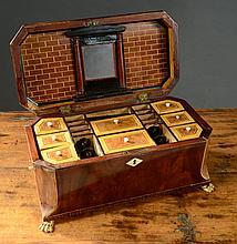 EARLY VICTORIAN MAHOGANY LADY'S SEWING BOX