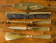 FIVE PIECE GOLD DRESSER SET consisting of nail