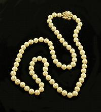 OPERA LENGTH PEARL NECKLACE, strung with 79 well