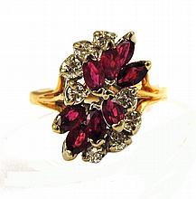 RUBY, DIAMOND AND FOURTEEN KARAT GOLD RING, yellow