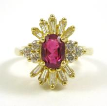 RUBY, DIAMOND AND FOURTEEN KARAT GOLD RING, with s