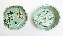ORIENTAL CELADON GLAZED BOWL AND ASHTRAY, the bowl