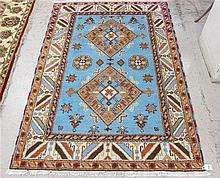 HAND KNOTTED ORIENTAL AREA RUG, blue field