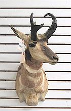 TWO PRONGHORN ANTELOPE game trophy head mounts
