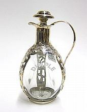 STERLING SILVER OVERLAY GLASS CRUET, Mexico
