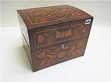 MARQUETRY INLAY HINGE-TOP BOX having floral and