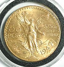 MEXICO FIFTY PESOS GOLD COIN, 1947, .900 fine