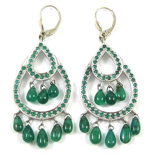 A LARGE PAIR OF EMERALD AND 14K GOLD PENDANT EARRINGS