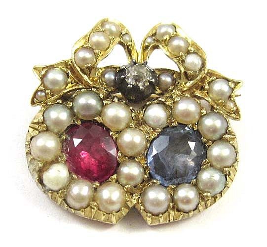 RUBY, SAPPHIRE, PEARL, DIAMOND AND GOLD BROOCH