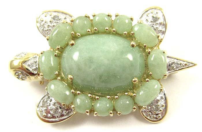 JADE, DIAMOND AND TEN KARAT GOLD TURTLE BROOCH,