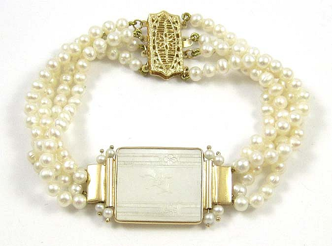 PEARL, MOTHER OF PEARL AND 14K GOLD BRACELET