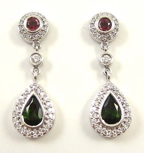 PAIR OF DIAMOND, TOURMALINE AND 14K GOLD PENDANT EARRINGS