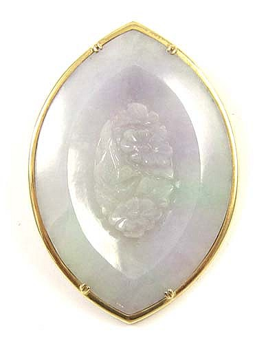 GREEN/LAVENDER JADE AND 14K GOLD PENANT/BROOCH