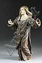 A HAND CARVED WOODEN STATUE DEPICTING SAINT ANNE,