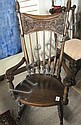 CARVED OAK SPINDLE-BACK ROCKING CHAIR, American,