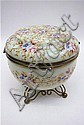 ENAMELED CUSTARD GLASS BOX, hand enameled floral