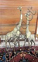 TWO LARGE CAST BRASS GIRAFFE, 48 & 53.5 inch