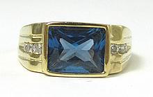MAN'S BLUE SPINEL, DIAMOND AND TEN KARAT GOLD RING