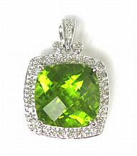 PERIDOT, DIAMOND AND TEN KARAT WHITE GOLD PENDANT,